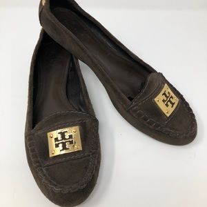 Tory Burch Brown Suede Flats, gold medallion 10.5M